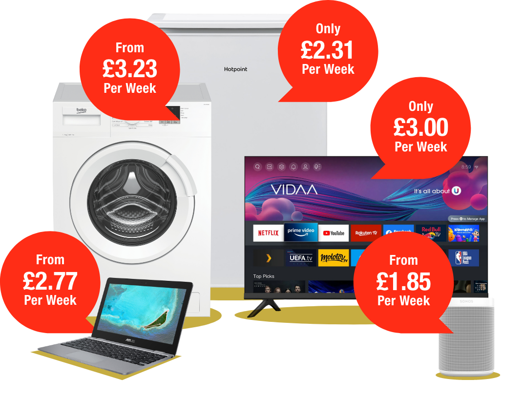 Laptop,Washing Machine,Fridge,Smart Speaker and TV with discount price bubbles